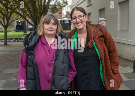 London, UK. 19th Dec, 2018. North West Durham Labour MP Laura Pidcock and DPAC's Paula Peters at the protest in support of the parliamentary debate due later in the day on the cumulative impact of the cuts on the lives of disabled people. They say the government cuts and changes in benefits, along with inappropriate benefit sanctions, have had a disproportionate effect on disabled people, resulting in great hardship, denying people their rights and many deaths. Credit: Peter Marshall/Alamy Live News - Stock Image