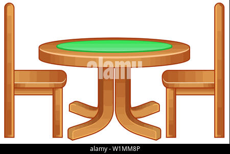 table chair furniture wooden perspective card game illustration - Stock Image