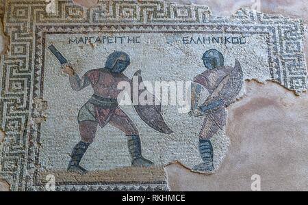 Floor mosaic, House of Gladiators, excavation site site, Kourion, Cyprus - Stock Image