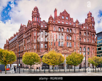 2 November 2018: Manchester, UK -  The Midland Hotel, a historic railway hotel facing the now closed Manchester Central Station. - Stock Image
