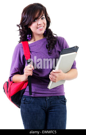 Stock image of young female student isolated on white background - Stock Image