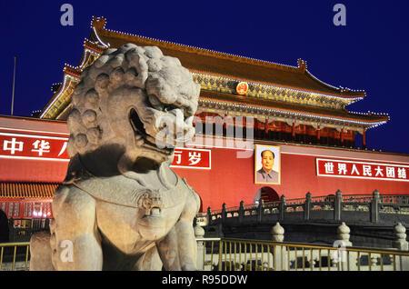 Lion stone guardian in front of Tiananmen, Beijing - Stock Image