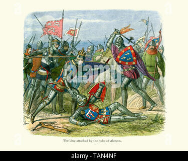 King Henry V being attacked by The Duke of Alencon at the Battle of Agincourt on the 25 October 1415.  Agincourt was a major English victory against a - Stock Image