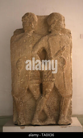 Roman era. Relief of two legionaries. Estepa, Seville, Spain. 1st century BC. Archaeological Museum of Seville. Andalusia. Spain. - Stock Image