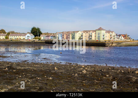 28 March 2019 The small bay and waterfront of Killyleagh village in County Down Northern Ireland on Strangford Lough at low tide. The lough is famous - Stock Image