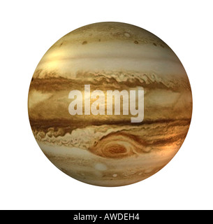 The Jupiter is the fifth planet in the solar system and a gas giant The great red spot is an cyclone and a trademark - Stock Image