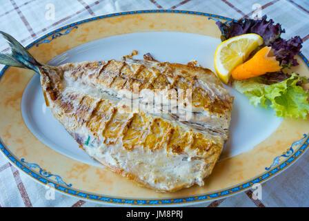 Grilled mackerel, Sozopol, Bulgaria - Stock Image