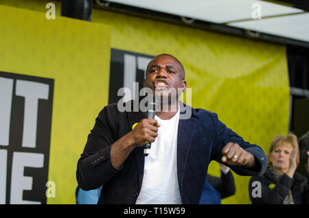 London, UK. 23rd Mar, 2019. David Lammy MP, Labour MP for  Tottenham, speaking at the People's Vote March and rally, 'Put it to the People.' Credit: Prixpics/Alamy Live News - Stock Image