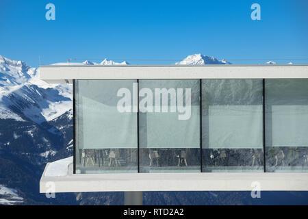 Kronplatz, South Tyrol, Italy - February 15, 2019: LUMEN – Museum of Mountain Photography and  AlpiNN restaurant at Kronplatz - Plan de Corones ski re - Stock Image