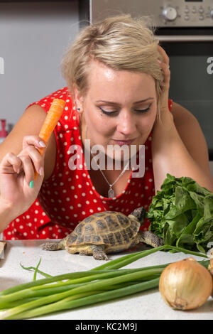 Girl eating carrot while tortoise looks up - Stock Image