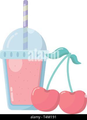 delicious tasty food cherry fruit with milkshake cartoon vector illustration graphic design - Stock Image