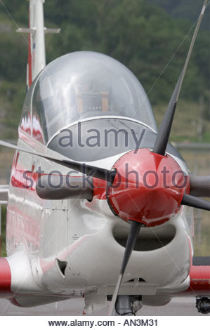 Grobnik Croatia Air show 2005 Pilatus PC9 trainer Croatian Air Force nose and propeller - Stock Image