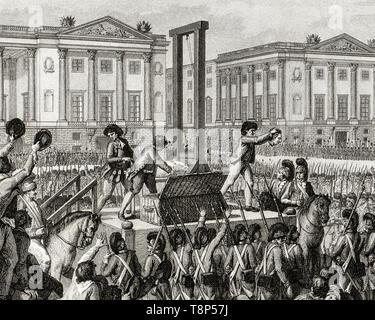 French Revolution. Execution of Louis XVI. 21 January 1793 the death of Louis Capet (Louis XVI) in the Place de la Revolution, Paris, engraving 1794 - Stock Image