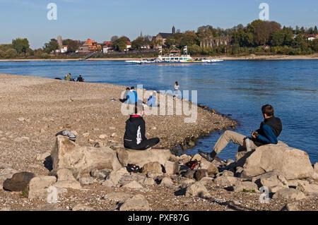 Low water on the Rhine at Kaiserswerth, Düsseldorf, NRW., Germany. - Stock Image