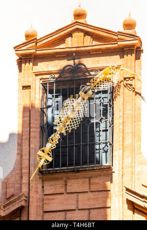 An elaborate palm sculpture on display for Holy Week in Seville - Stock Image