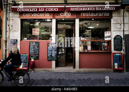 Exterior of a typical quaint cafe restaurant in Valencia Spain - Stock Image