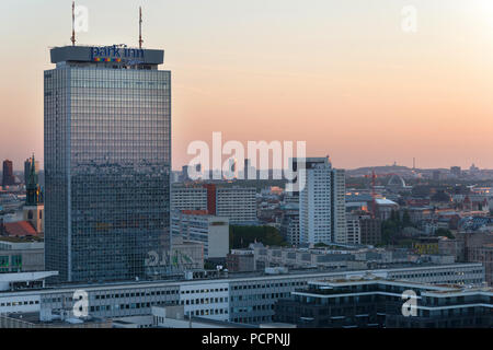 Berlin Panorama Birds view over Alexander Square to city west, berlin, germany - Stock Image