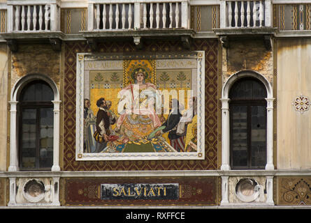 Mosiac on building in Grand Canal,Venice, Italy - Stock Image