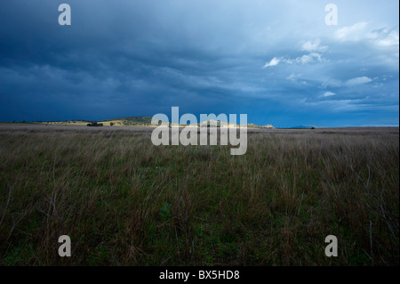 Rural landscape and stormy sky - Stock Image