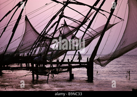Cantilevered fishing nets Kochi India - Stock Image