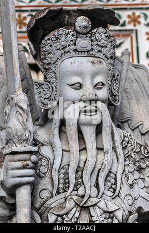 Chinese statue from ship ballast at Wat Arun, Bangkok, Thailand. - Stock Image