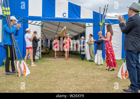 Henley Royal Regatta  Semi Finals  -The Chinese National Rowing Team leave  the Boat Tent  for  their race in the Princess Grace Challenge Cup semi finals against the  Advanced Rowing Initiative of the Northeast, U.S.A.    Credit Gary Bake/Alamy Live - Stock Image