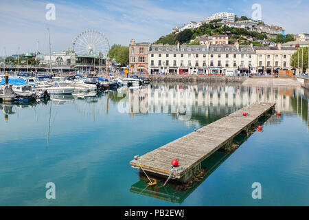 21 May 2018: Torquay, Devon, England, UK - The marina, harbour and town on a sunny spring day. - Stock Image