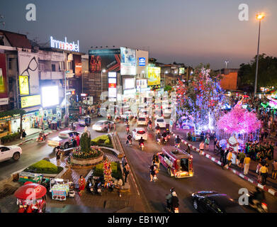 Chiang Mai at night in Thailand - Stock Image