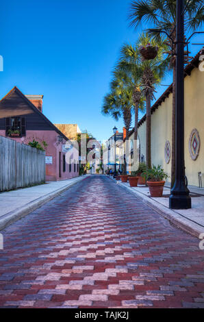 Aviles  Street in historic old town section of St Augustine Florida - Stock Image