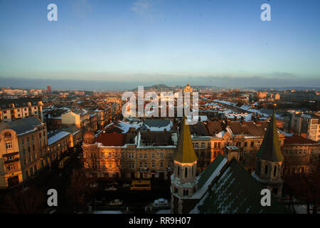 Beautiful cityscape of Lviv in Ukraine from above at sunset on sky background. - Stock Image