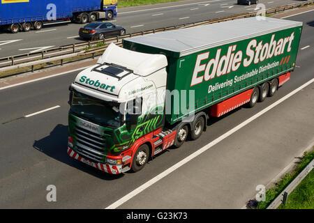 Eddie Stobart HGV travelling on the M56 motorway in Cheshire UK - Stock Image