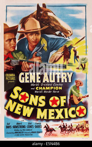 SONS OF NEW MEXICO, top center and bottom right: Gene Autry, 1949. - Stock Image