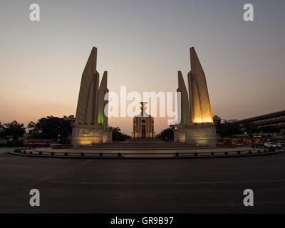 Exterior Of Illuminated Democracy Monument Against Clear Sky During Sunset - Stock Image