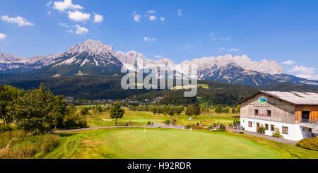 THE WILDER KAISER GOLF COURSE IN FRONT OF WILDER KAISER MOUNTAINS, 27 HOLE GOLF COURSE, ELLMAU, TYROL, TIROL, AUSTRIA - Stock Image