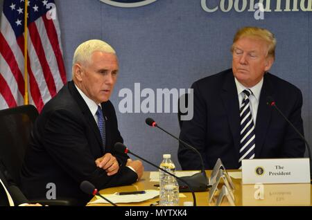 U.S President Donald Trump and Vice President Mike Pence attend the annual hurricane season briefing at FEMA Headquarters June 6, 2018 in Washington, DC. - Stock Image