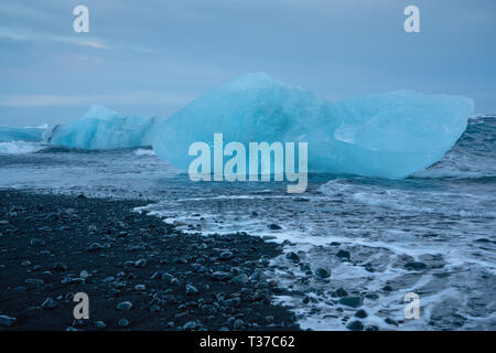 Iceberg at Diamond Beach Joekulsarlon, Iceland - Stock Image