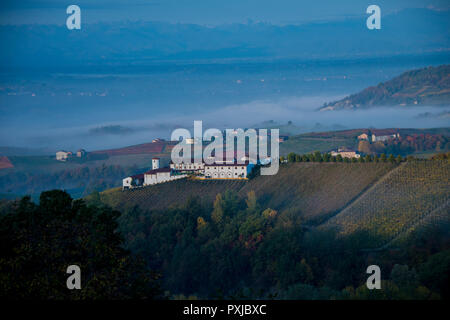 Vinery and vineyard Podere Rocche dei Manzoni just outside Monforte d'Alba, Cuneo, in Piedmont, Italy - Stock Image
