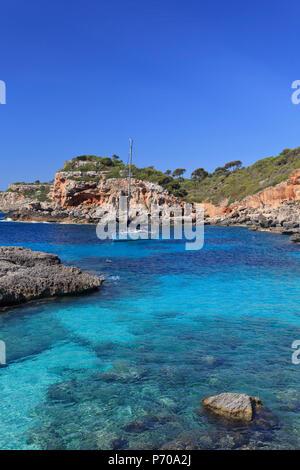 Spain, Balearic Islands, Mallorca, Cala S'Almonia Beach - Stock Image