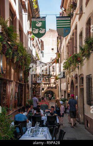 Lunch in the old quarter of Strasbourg, Alsace, France - Stock Image