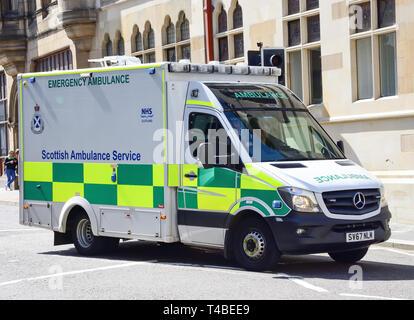 Scottish NHS Ambulance Service emergency ambulance on call, Inverness, Highland, Scotland, United Kingdom - Stock Image
