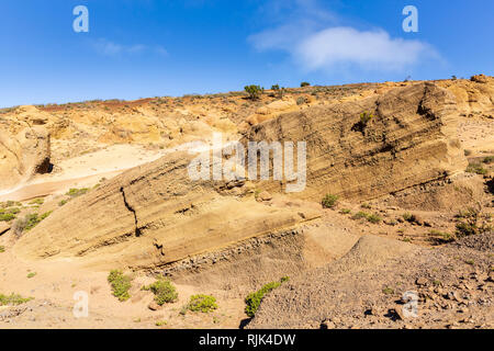 Wind erosion eroding the sandy rock in the Teno region of Tenerife, Canary Islands, Spain - Stock Image