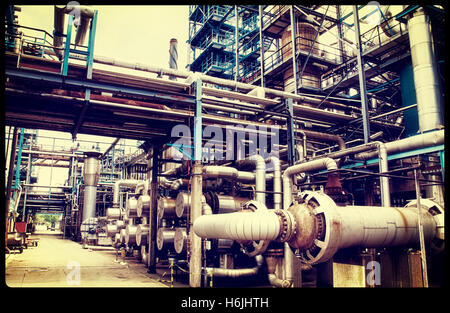 chemical oil and gas refinery, vintage processing concept - Stock Image