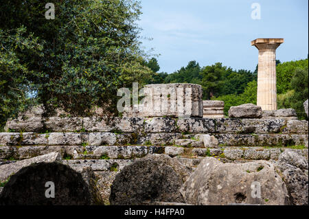 Olympia, Greece. The site of the Olympic Games in classical times. The Temple of Zeus. - Stock Image