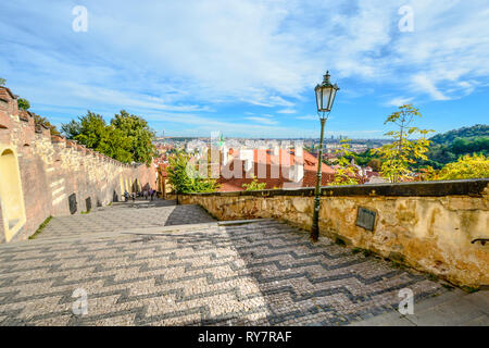 The Old Castle Stairway or Stare zamecke schody directly to the Prague castle gate in Prague, Czech Republic - Stock Image