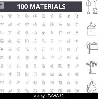 Materials line icons, signs, vector set, outline illustration concept  - Stock Image