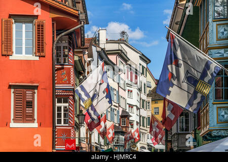 Augustiner alley, Augustinergasse, historic center, flags,  Zurich, Switzerland - Stock Image