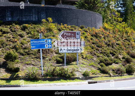 Road signs on Sao Miguel in The Azores - Stock Image