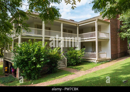 Greeneville, TN, USA-10-2-18: The rear of the Greek Revival home President Andrew Johnson lived in after returning from Washington.  Children in image - Stock Image