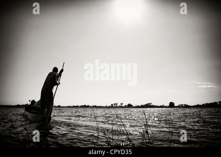 Dugout canoe in the Okavango Delta, Botswana - Stock Image