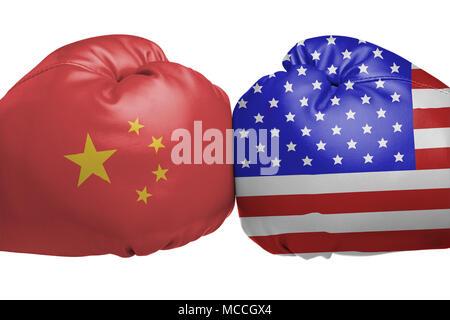 Close up of boxing gloves with China and United States flag symbols isolated on white background - Stock Image